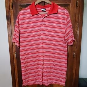 Nike Dri-Fit Red and White Golf Polo Shirt Size L